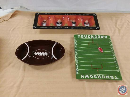 Gridiron Nation Ceramic Chip and Dip Tray, Gridiron Nation Ceramic Serving Tray, Certified
