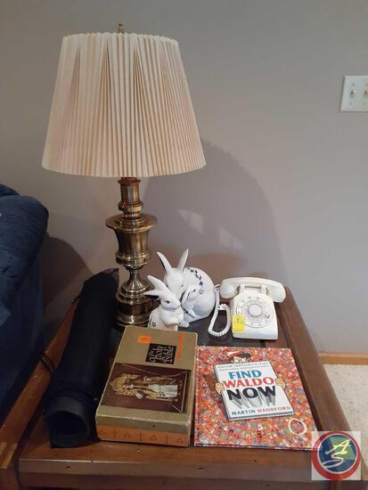 Lamp, Bunny Figurines, Find Waldo Now Book, Yoga Mat, Bible, Vintage Phone