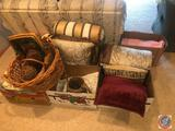 American Tourister Luggage, Pillows and Blanket, Decorative Basket