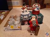Musical Snowman Collectible, Snowman Snow Globe, Santa Golfer Collectible, Glass Stem Bowls
