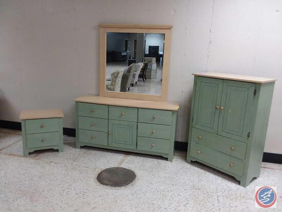 "{{3X$BID}} Hart Furniture Dresser w/ Mirror 60"" x 17"" x 30 1/2"", Mirror Measures 42 1/2"" x 44"","