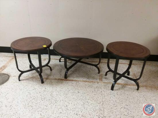 "{{3X$BID}} (3) Round Ornate Inlaid Wood Tables (2) Measures 24"" x 24"", (1) Measures 36"" x 18"""