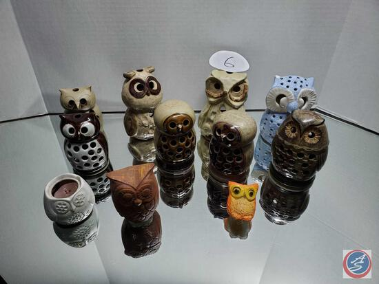 Owl Figures including a few Votives and Candle Holders