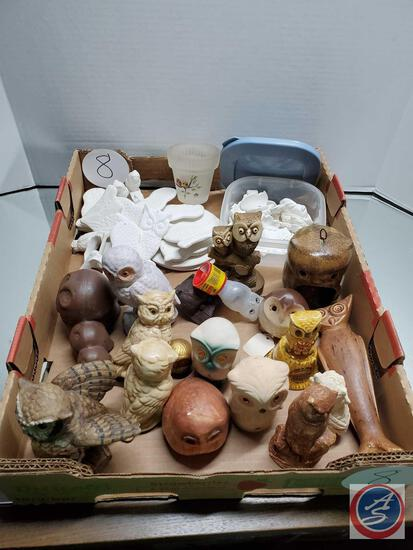 Mixed Lot of Owl Collectible Figures and Statues, Mostly Ceramic and Unpainted Plaster