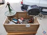 Plastic Crate with Tools, Sprinkler, Garage Items