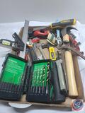 Flat of tools Hitachi Drill Bits, DeWalt, Stanley, unbranded