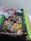 Large flat tools- levels, files, blades, pliers, screws
