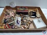 Vintage jewelry lot necklaces, pinking shears, charms, bangles
