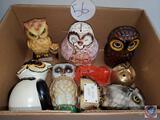 Vintage Lot Owl Banks and Decor