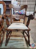Needlework Embroidered Seat Wood Rocking Chair