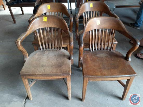 Antique / vintage wood In.banker chairsIn., quantity of (4); M.U.D. asset #1645, 1645, 21800, N/A
