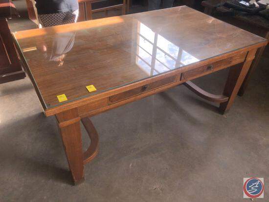 Antique / vintage wood table with glass top and two drawers. NOTE: There is a chip in the glass;