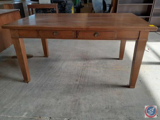 Antique / vintage wood table with two drawers. The legs can be easily removed by removing one