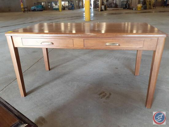 Antique / vintage wood table with two drawers. Made by Jasper Office Furniture Co., Jasper, Indiana;