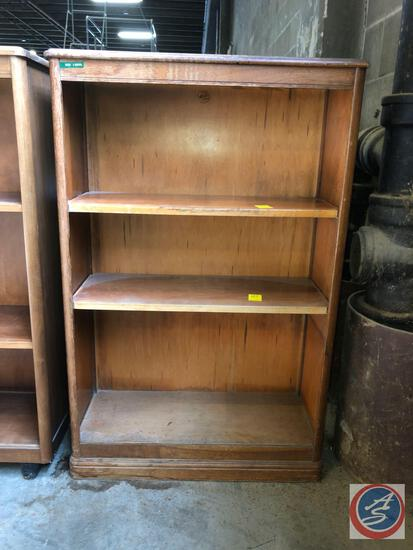 Antique / vintage wood bookcase with three shelves (two are adjustable); approximate measurements