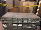 Vintage steel gray Equipto brand 18 drawer parts storage cabinet hardware. Three rows each with six