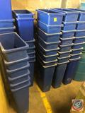 (5) Rubbermaid 3540 blue RECYCLE trash can (some are not Rubbermaid brand); approximate measurements