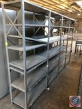 Lyon brand gray metal warehouse shelving with 24 shelves (including top shelves) and 8 extra loose