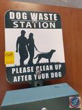 Dog waste station on post