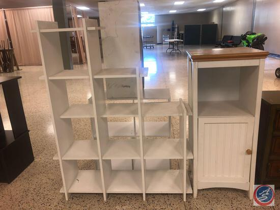 Three Tier Storage Cube Stand Measuring 40'' x 11 1/4'' x 52'', Cabinet w/ Some Damage As Noted By