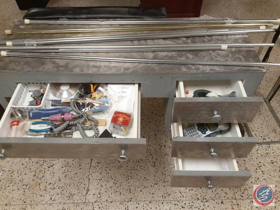 Rolling Salon Desk w/ Four Drawers Measuring 44'' x 16'' x 30'', (7) Tension Rods (One Is Missing