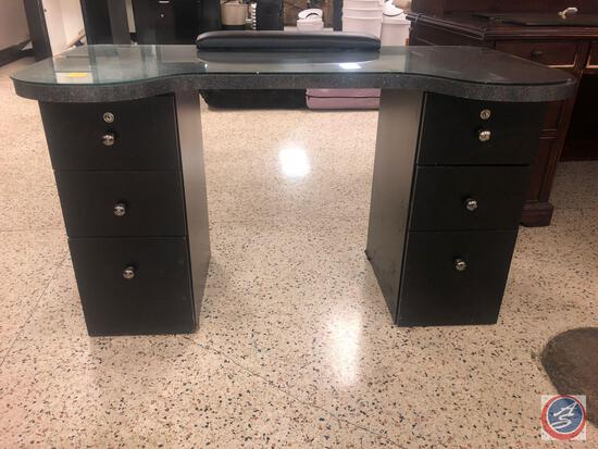 Six Drawer Salon Desk w/ Glass Overlay Measuring 45'' x 29'' x 30''