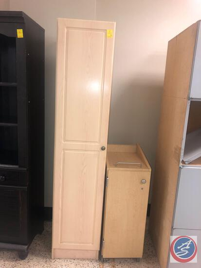 Cabinet w/ Four Shelves and One Door Measuring 15'' x 15'' x 72'', Rolling Cabinet w/ One Locked