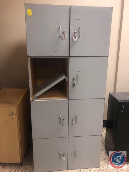 2 x 4 Locker Cabinet Storage ONE DOOR BROKEN, Measuring 32'' x 25'' x 72''