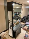 Double Sided Mirrored Salon Station w/ Electrical Hook Up Measuring 44'' x 32'' x 96'' {{DOORS