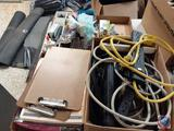 Assorted Power Strips, Light Bulbs, Clip Boards, Duster, Office Supplies