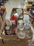Assorted Decorative Glass Jars and Dishes, Coffee Carafe, Metal Art