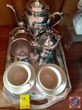 Silver or Silver Plated Coffee Pot, Cream and Sugar and Tray, (2) Coffee Cups w/ Plates, Liberty