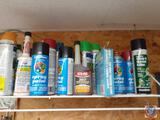 Assortment of Partially Used Spray Paints, Rain X, Wasp and Hornet Killer, Sta-bil 360 Performance,