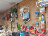 Assorted Rolls of Electrical Wire, Peg Hooks, Cassette Tapes, Deluxe 4 Way Manifold, Chains, Vintage