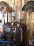 Turkey Feather Wall Hanging, Western Theme Lamp, Lamp, (2) Candle Stick Holders, Vintage Oil Lamp