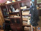 Hutch with (3) sets of Doors, (13) Shelves, Measuring 76'' x 18'' x 77'' {{SOME DAMAGE}} {{CONTENTS