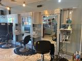 {{3X$Bid}} Three Station Salon Bays with Rotating Storage Space and Electric Hook-up with Mirrors
