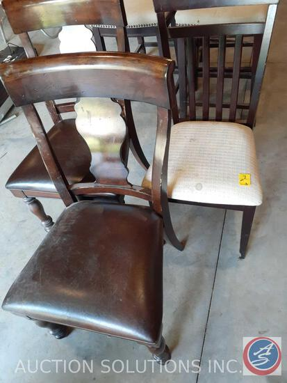"Slat Back Upholstered Chair Measuring 38"" and (2) Wood and Leather Decorative Back Chairs Measuring"