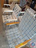 (4) Metal Lawn Chairs and (1) Canvas Race Car Themed Folding Chairs