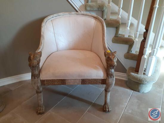 "Lion Head and Claw Feet Arm Chair 34"" x 27"""