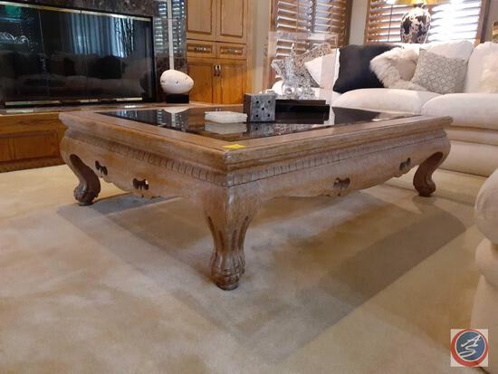 Glass and Wooden Coffee Table {{CONTENTS NOT INCLUDED}} 56 3/4'' x 42'' x 16''