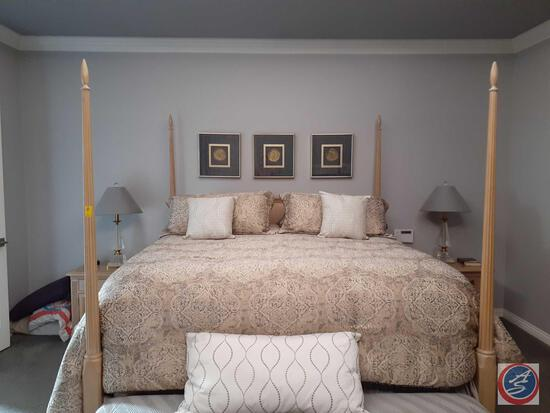 Four Post Queen Size Bed Incl.: Frame, Box Spring, Mattress, Pillows, and Bedding: Bed Is: Perfect