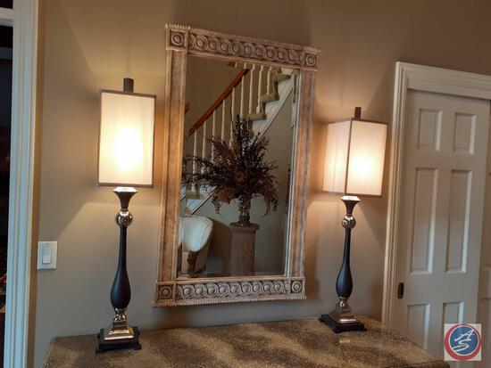 (2) Table Lamps, Mirror 28'' x 48''