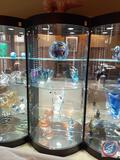 Lighted Glass and Wood Round Display Hutch {{CONTENTS ARE NOT INCLUDED}} 32'' x 22'' x 80''