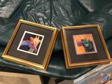 {{2X$BID}} Framed Artwork of Giraffe's and Rhino's {{Artist Name Illegible}}
