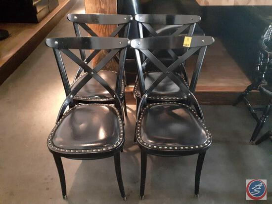 {{4X$BID}} (4) Cross Back Dining Chairs w/ Nailhead Accents