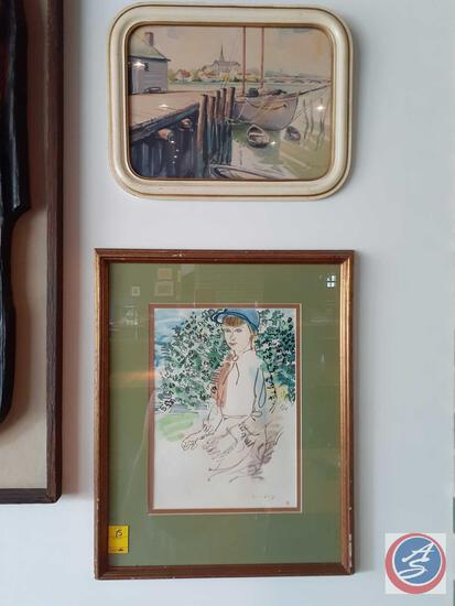 Framed Watercolor Signed by Rasel Dusy, Framed Lithograph Signed E Rice Copyright M & B