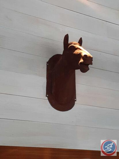 Cast Iron Horse Head Wall Decoration {{LOCATED UP HIGH, YOU WILL NEED TO BRING A LADDER AND TOOLS TO
