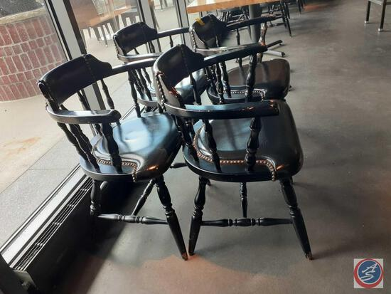 {{4X$BID}} (4) Spindle Back Dining Chairs w/ Nailhead Accents