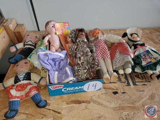 9 vintage dolls and doll dress